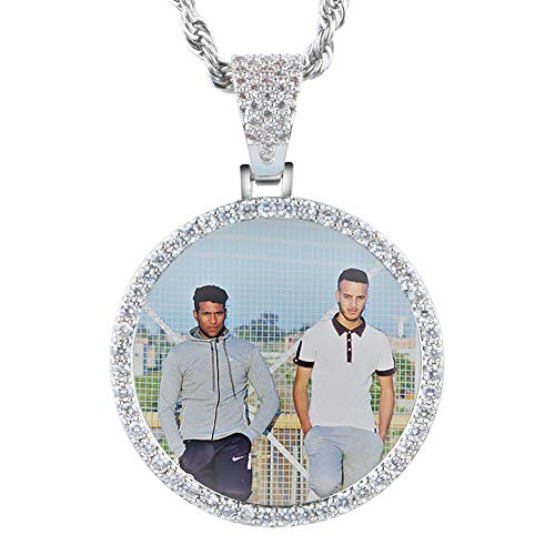 (YIMERAIRE Personalized Custom Photo Circle Gold Silver Rose Gold Necklace Pendant for Women Men Hip Hop Jewelry)