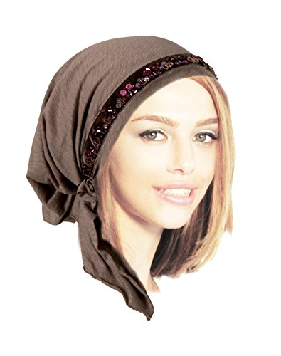 Velvet Beaded Scarf (Quality Taupe Brown Pre-tied Head-scarf With Gorgeous Handmade Velvet Beaded Trim (Taupe beaded short -)