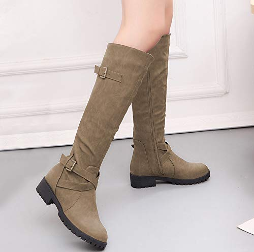 Stiefel Winter Europäischen Herbst Große Hohe Und Und Khaki Amerikanischen LIANGXIE Größe Stiefel Frauen Stiefel Martin 2018 xwAa7qp55E