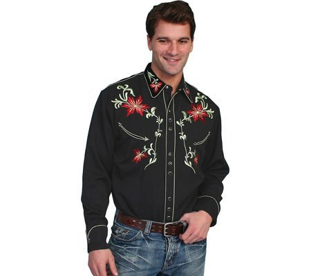 Scully Men's Floral Embroidery Vintage Western Shirt Black Small