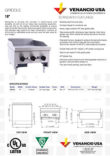"""Commercial Counter Top 18"""" Griddle - Natural Gas - Propane - Stainless Steel"""