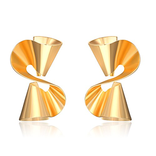 LILIE&WHITE Fashion Twisted Ribbon Bow Studs Earrings For Women Cool Earrings Jewelry (Gold Ribbon Earrings)