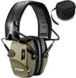 Electronic Shooting Ear Protection Muff | ZOHAN Sound Amplification Noise Reduction Hunting Earmuff - NRR 22dB -OD Green with Case
