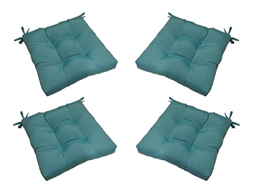 Resort Spa Home Decor Set of 4 - Indoor/Outdoor Solid Cancun Blue Universal Tufted Seat Cushions with Ties for Dining Patio Chairs - Choose Size (20