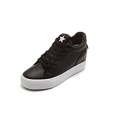 lcky Women's Sneakers Fashion with high Canvas Shoes Wedges Platform Shoes(Black 38/7.5 B(M) US Women)