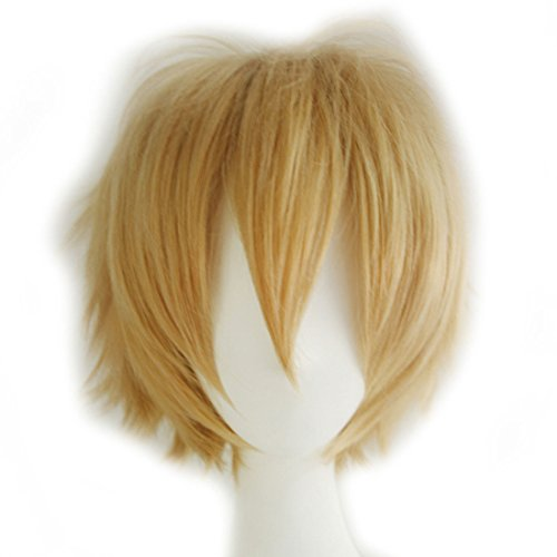 Gold Travel Costumes (Alacos Unisex Cosplay Short Straight Hair Wig Women Men Anime Comic Con Party Dress Wigs Mix Gold Wig+ Free Wig Cap)