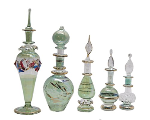 Set of 5 Egyptian Perfume Bottles Glass (GREEN COLLECTION)