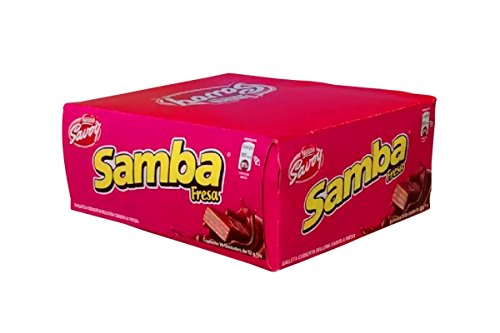 SAMBA Fresa, Galleta Cubierta de Chocolate Rellena sabor a Fresa, 20 Unidades de 32