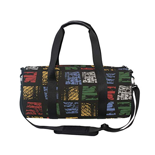 MUOOUM Geometry Block Line Math Colorful Sports Gym Bag Travel Duffel Bag for Women and Men Luggage Handbag -