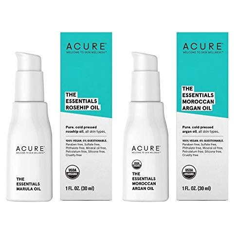 Acure Organics Certified Organic Rosehip Oil and Argan Oil Bundle For Face and Body, Natural Anti-Aging and Environmental Damage Serum With Vitamin C & E, 1 fl. oz. each