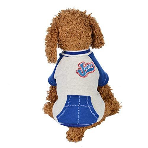 Iuhan  Pet Clothes Puppy Shirts Clothes Cotton Outfit Apparel Letter Coats Tops (XL, Blue) ()