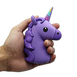DBigness 2600mAh Purple Unicorn Cute Funny Cartoon Gift PVC External Battery Portable Charger Backup Pack Power Bank for iPhone 7 7 Plus 6 6S Plus 5S 5C SE 4S and Android Phones