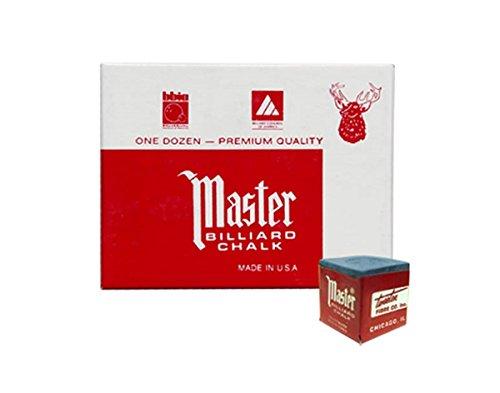 Master Billiard/Pool Cue Chalk Box, 12 Cubes, Blue