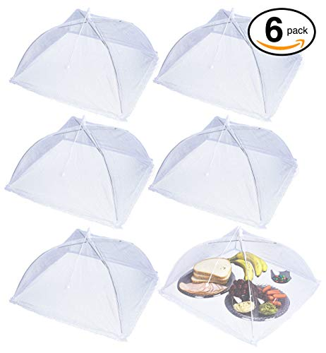 Apecks(TM) (6 pack) - Pop-Up Mesh Food Cover for outdoors - Extra Large - Bug Protector - Food Tent - 17''x17'' - Umbrella Tent For Bugs, Mosquitoes, Flies - Reusable & Collapsible - Plant Protector by Apecks