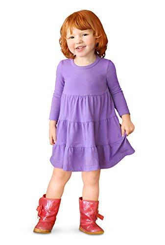 City Threads Little Girls' Cotton Long Sleeve Tiered Ruffle Dress, Deep (medium) Purple, 5
