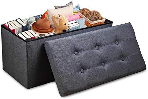 Vigamimn 30″ Ottoman Stool Folding Storage Ottoman Foot Rest Stool Foot Stools Foldable Ottoman Bench Stool Linen Fabric Thicker Foam
