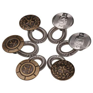 6pcs/set Men/Women Jeans Pants Metal Snap Fastener Press Stud Buttons Fix Expanders Waist Stretch Extender Button Lock Metal No Sew Elastic Jeans Collar Button Pant Extender Replacement Button - Arts