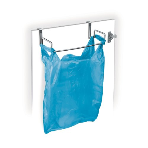 Lynk Over Cabinet Door Organizer - Plastic Bag Holder - Chrome - Trash Grocery Can Bag