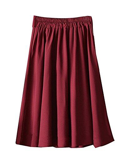 Retro Jupe Trapze lgant Haute Longue Taille Jupe Femme Jupe Hdbordeaux GladiolusA Plisse HwSBgxFYqn