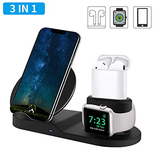 3 in 1 Wireless Charger, ToastyHouse 10W Qi Fast Wireless Charger Stand for All QI Phones and Airpods - New Version Wireless Charging Station (Black)