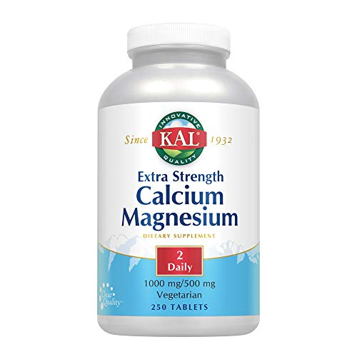 KAL Extra Strength Calcium Magnesium | 1000mg/500mg | Healthy Bones, Teeth, Nerve & Muscle Support | Rapid Disintegration | Vegetarian | 250 Tablets