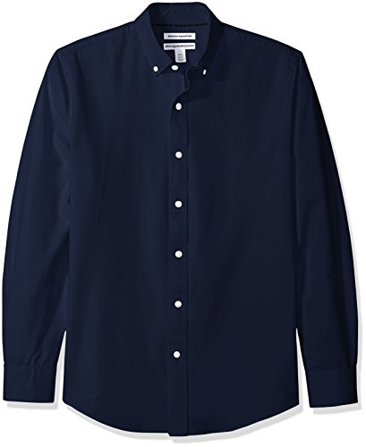 Amazon Essentials Men's Slim-Fit Long-Sleeve Solid Oxford Shirt, Navy, X-Small