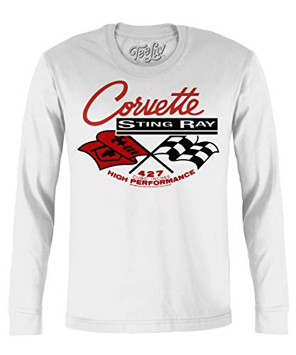 Chevy Corvette Shirt Long Sleeve - Chevrolet Corvette Stingray T-Shirt (XXX-Large) White