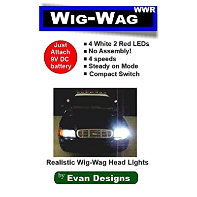 Evan Designs Wig Wag Alternating Headlight and Tail Light Flashers for Diecast and RC Emergency Vehicles - 5 Flash Speeds - 6 Super Bright LEDs: Toys & Games