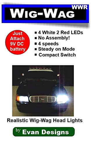 Evan Designs Wig Wag Alternating Headlight and Tail Light Flashers for Emergency Vehicles - 5 Flash Speeds - 6 Super Bright LEDs - Runs on a 9 Volt Battery ()