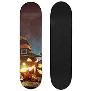 Candle Lit Halloween Pumpkins Maple Wood Double Kick Cruiser Skateboard
