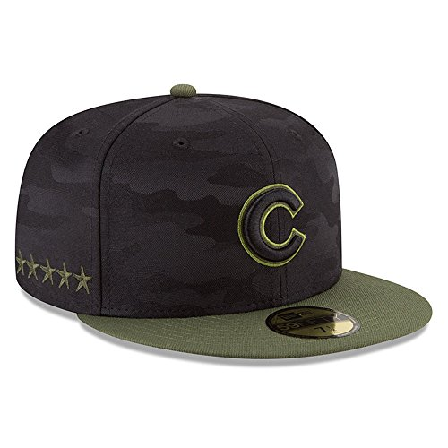 New Era Chicago Cubs 2018 Memorial Day On-Field 59FIFTY Fitted Hat - Black/Olive (7 - Cubs Pattern Chicago Mens