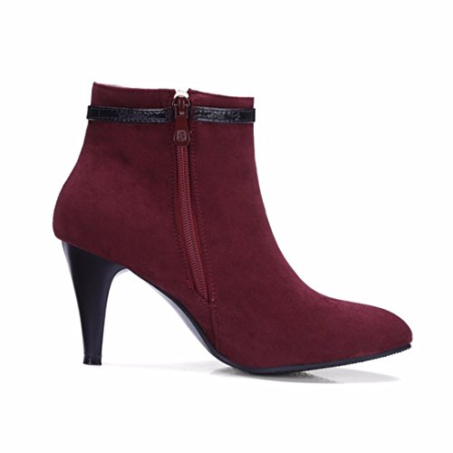 Red boots Terry fine boots buckle with Women's Female heeled high Shoes belt winter RFF YxqgFwp7Y