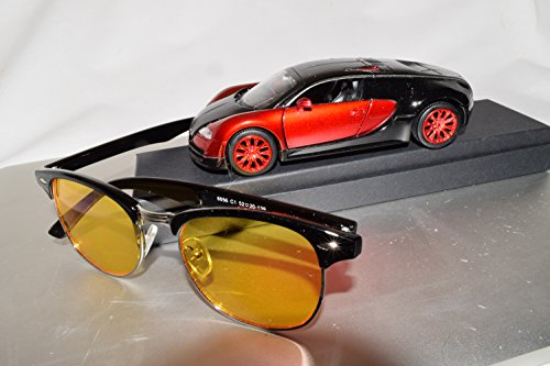 Driver-Rx 'Tesla' -Special DESIGNER Driving Glasses with Amber Tint Helps Your Vision While Driving Blue Ray, UV Protection, Anti Fatigue, Relieves Eye Strain. Stylish, Unisex. FREE Case / (Favorite Driver)