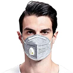 HJHY Reusable face guard with Flexible Earloop and Breathing Valve {1 Piece)
