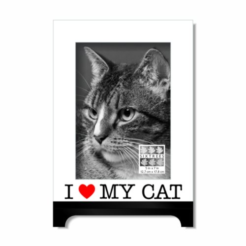 SIXTREES I Love My Cat Heart Luxury Frame, 5 by 7-Inch, (Red Heart 5 Jet)