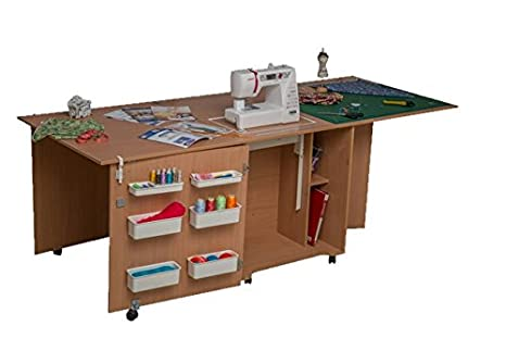 Comodidad 1Q + | máquina de coser overlock armario Hobby Craft Quilting Patchwork cuadro | Oak medium-light: Amazon.es: Hogar