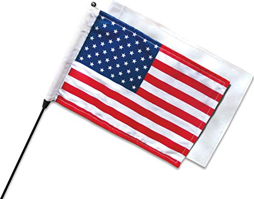Kuryakyn 4217 Motorcycle Display Accessory: Antenna Mount with American Flag and Plain White/Blank Flag, Universal Fit for Motorcycles with OEM Antennas