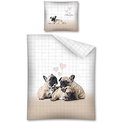 Bulldog francés Juego de Cama Perro Funda de edredón 140 x 200 cm – algodón