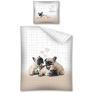 Bulldog francés Juego de Cama Perro Funda de edredón 140 x 200 cm - algodón: Amazon.es: Hogar