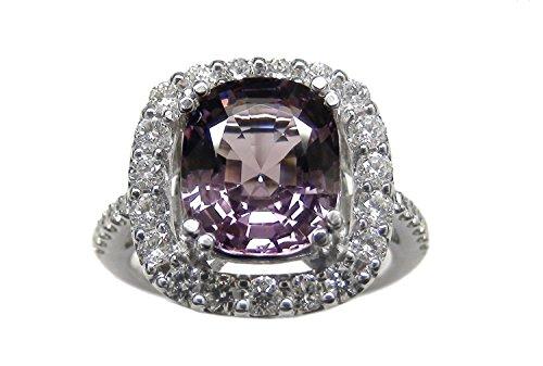 - 4.28 Carat Natural Pinkish Purple Spinel & Round Diamond 14k White Gold Ring