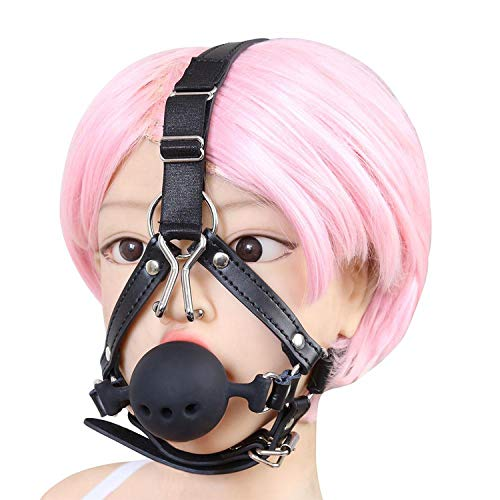 Ball Harness - Silicone Breathable Wiffle Mouth Open Gag with Nose Hook Bite Ball Gag Harness Belt Adult Sex Toys for Couple,Red