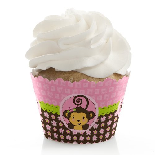 Pink Monkey Girl - Baby Shower or Birthday Party Decorations - Party Cupcake Wrappers - Set of 12