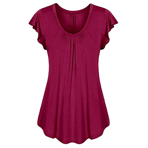 (Aniywn Women Round Neck Ruffled Short Sleeve Blouse Solid Color Ruched Irregular T-Shirt Tops)