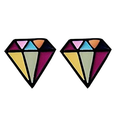 YAZILIND Korean New Design Cloisonne Enamel Trigonometry Stud Earrings Mother's Day Gift