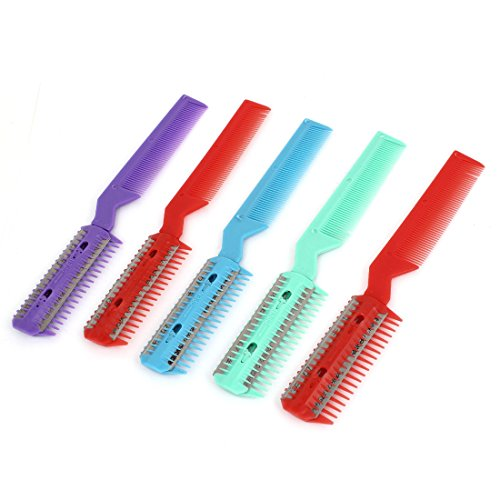 5 Pcs Multicolor Plastic Razor Blade Hair Cutter Comb Trimmer Tool