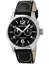 II Men's 0764 Stainless Steel Watch with Black Leather Band