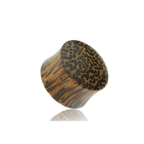Freedom Fashion Organic Coconut Wood Convex Solid Saddle Plug (Sold by Pair) (3/4