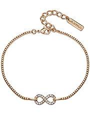 Mestige Women Glass Rose Gold Timeless Bracelet with Swarovski Crystals