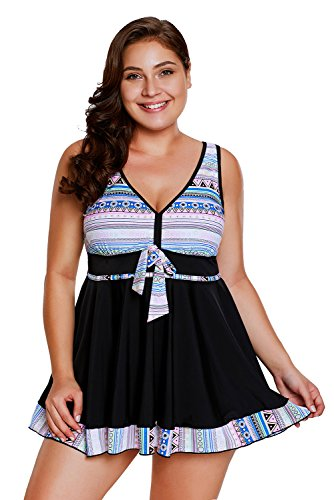 (SailBee Light Tribal Print Accent Swimsuit Swimdress and Short Set (410337 2X, ColorBlack))