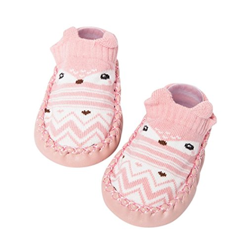 Moonker Cute Cartoon Infant Newborn Baby Girls Boys Anti-Slip Socks Slipper Bell Toddler Shoes Boots First Walking Shoes 0-24M (6-12 Months, Pink)